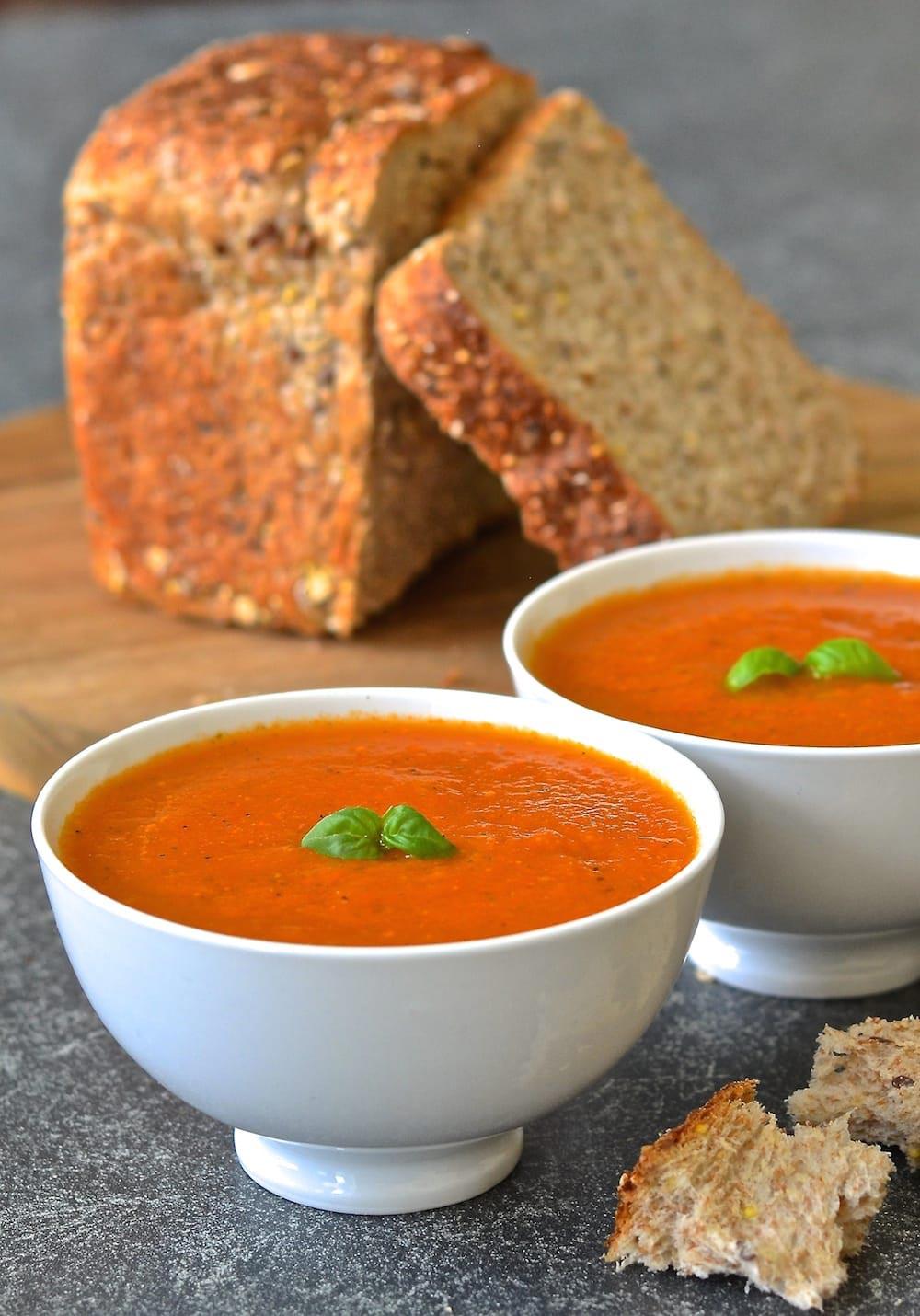 tomato basil soup in bowls