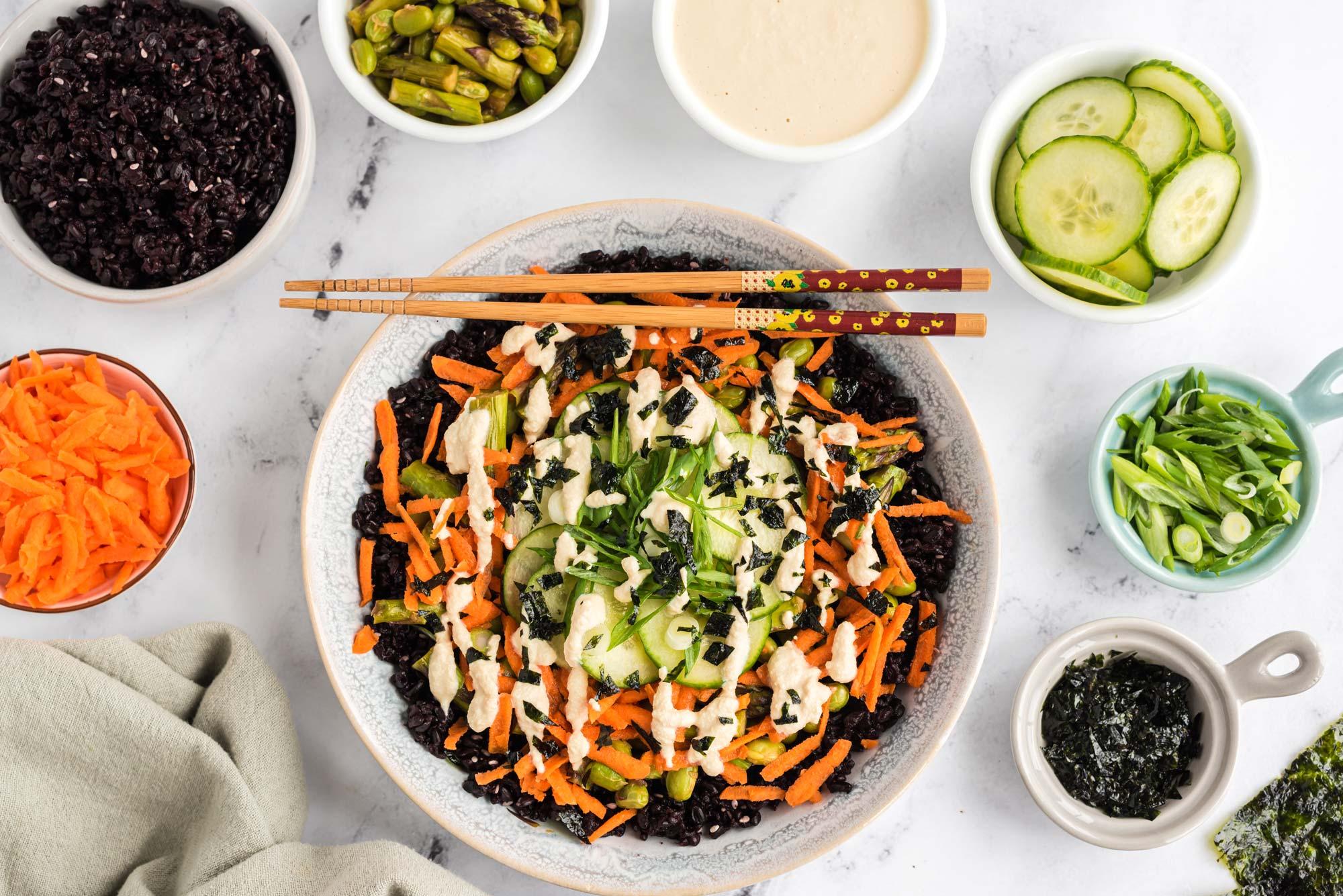 vegan sushi bowl with wasabi mayo