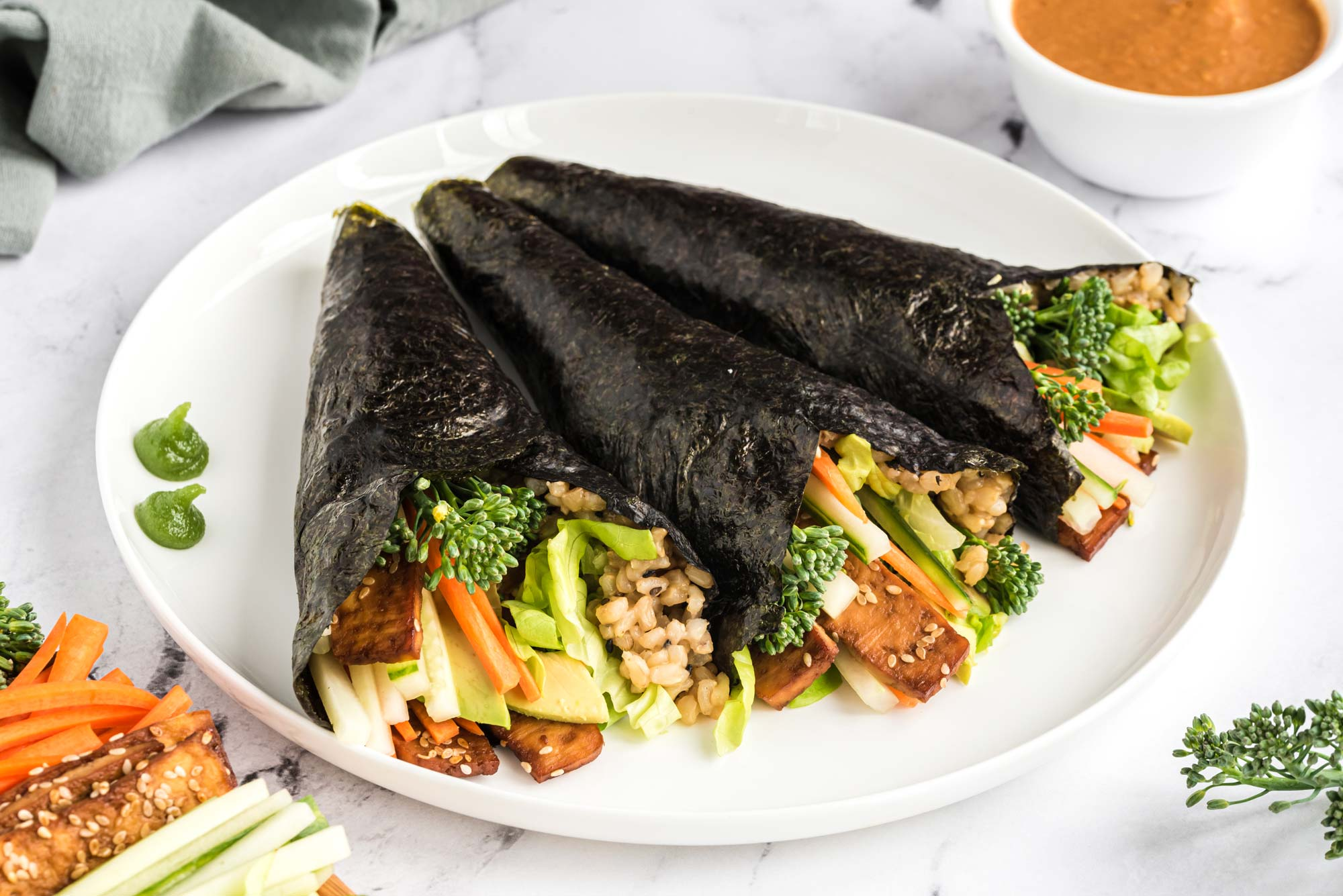 vegetable hand rolls on plate
