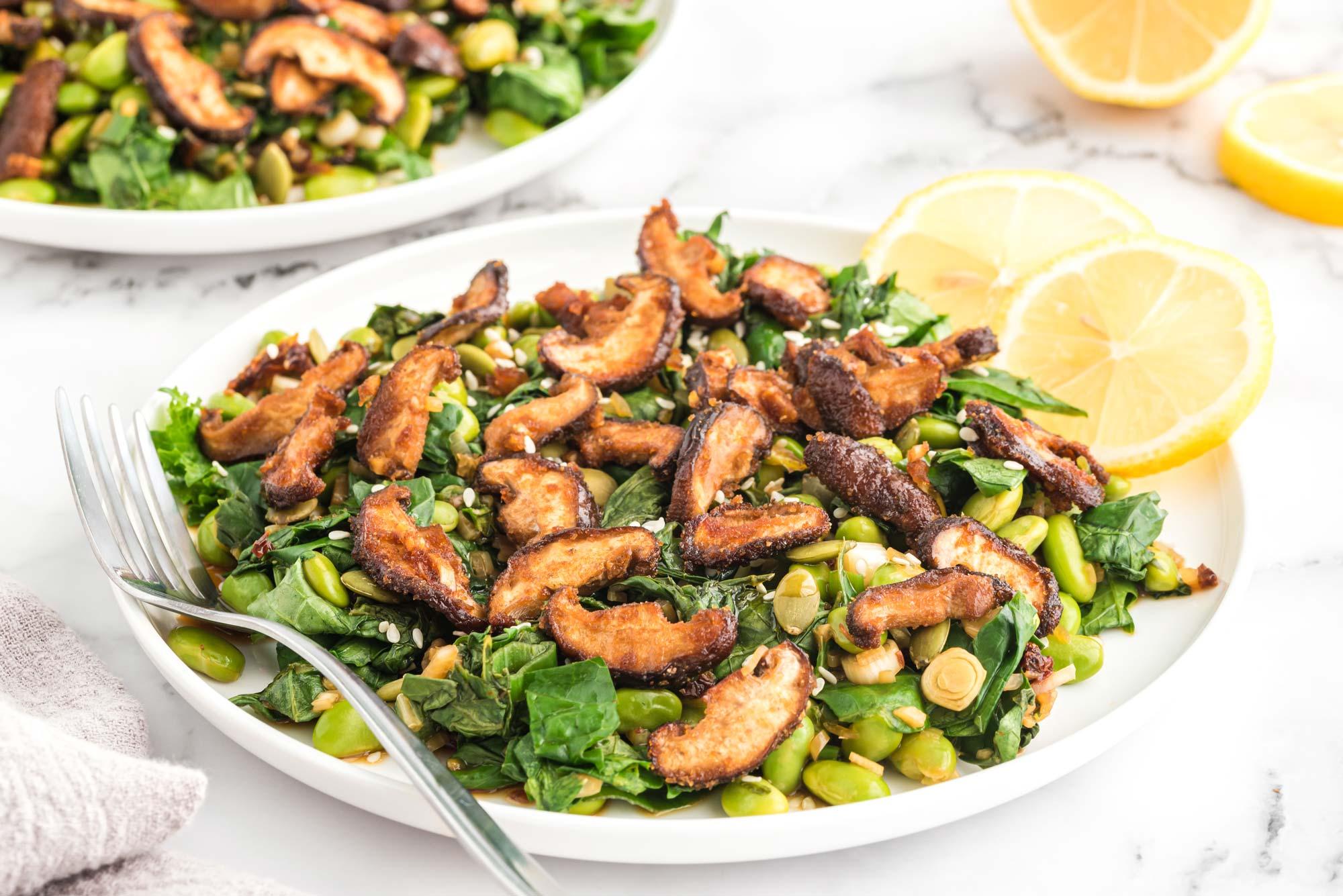 Food combining recipe - Warm kale edamame salad with shiitake bacon