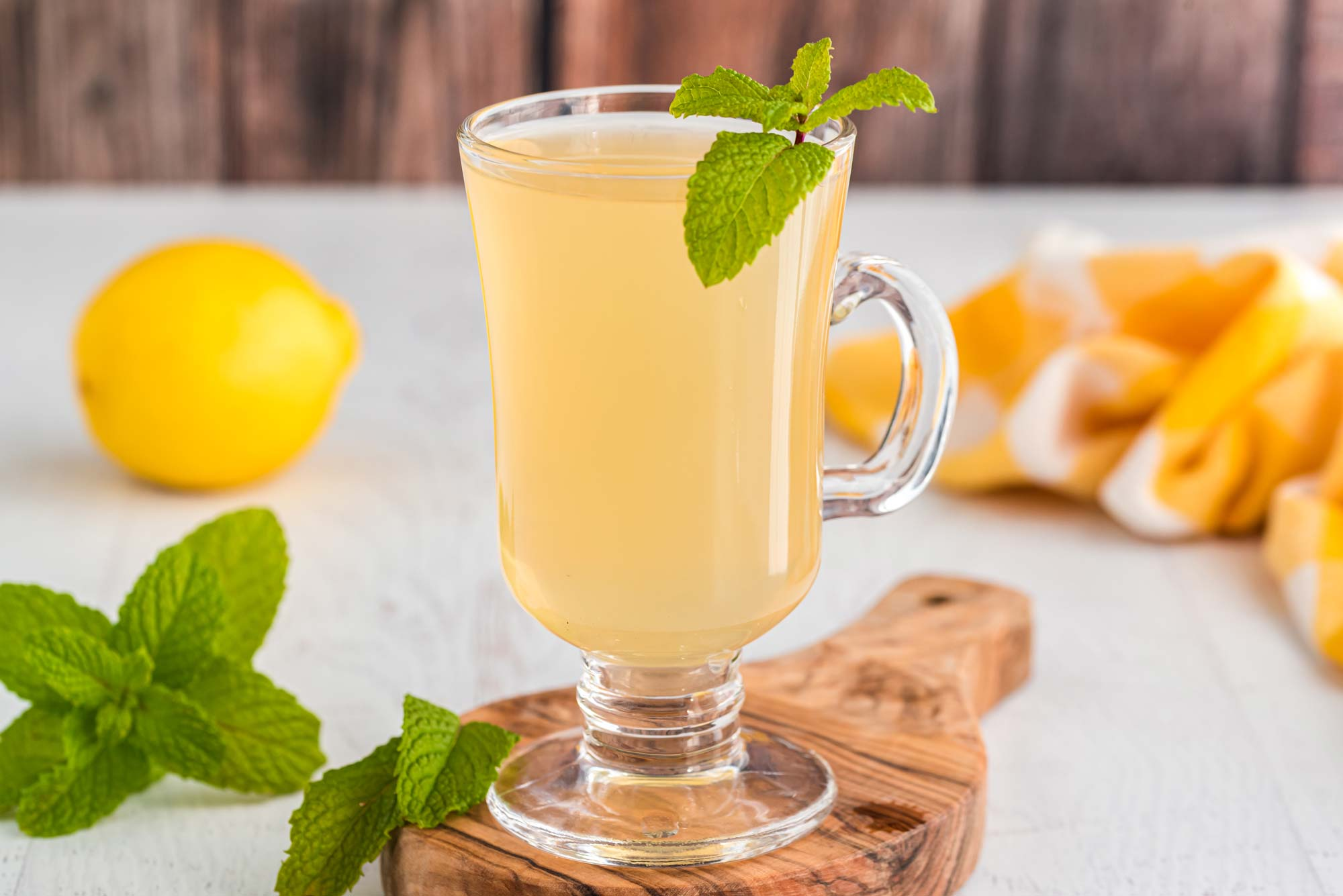 warm lavender mint tea lemonade in glass