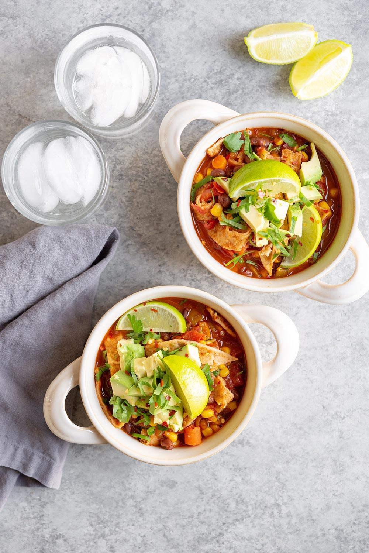tortilla soup in bowls