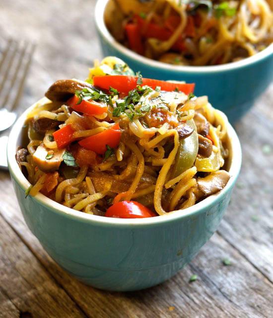 cajun zucchini nood pasta in bowls